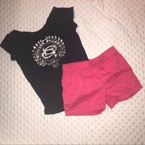 Girl's Bebe Black Glitter Tee Shirt & Pink Shorts